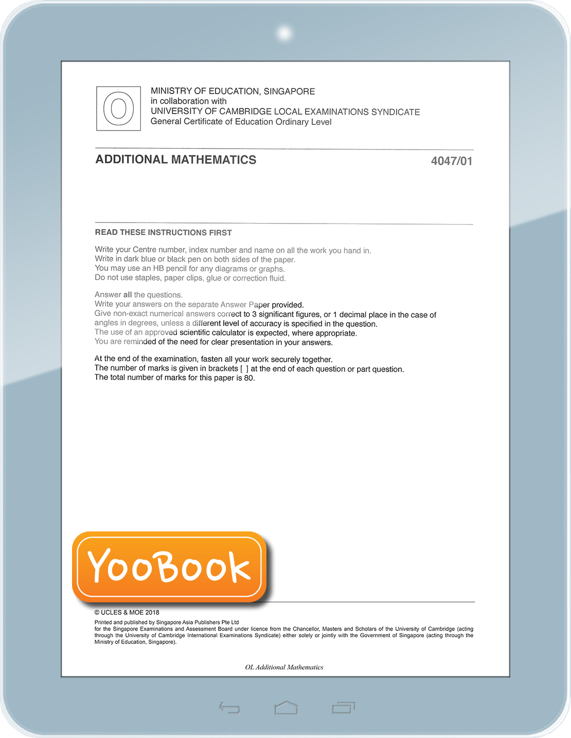 YooBook e-OL Additional Mathematics YE 2009-2018